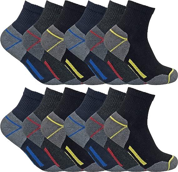 Sock Snob 3, 6, 12 paia uomo calzinicalze lavoro cotone corti quarter corte rinforzate spugna tacco e punta