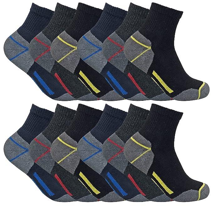 3, 6 y 12 pares hombre algodon transpirables cortos calcetines trabajo / trabajar de verano para entrenar (SHORT): Amazon.es: Ropa y accesorios