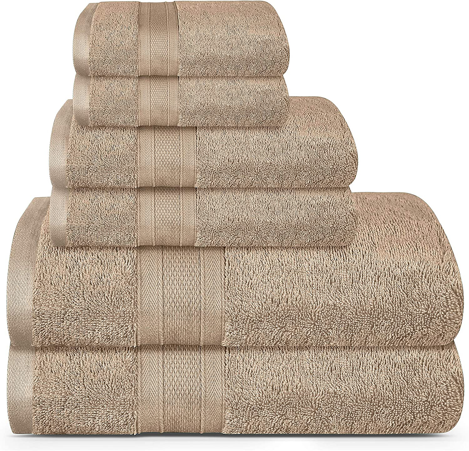 TRIDENT Soft and Plush, 100% Cotton, Highly Absorbent, Bathroom Towels, Super Soft, 6 Piece Towel Set (2 Bath Towels, 2 Hand Towels, 2 Washcloths), 500 GSM, Acorn