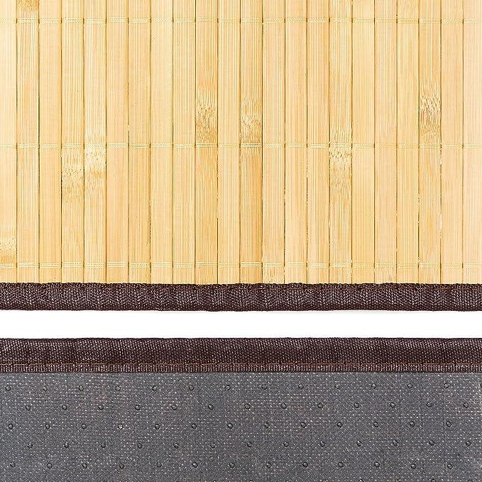 Relaxdays Color marr/ón Alfombra de ba/ño Hecho de bamb/ú 80 x 50 cm Antideslizante