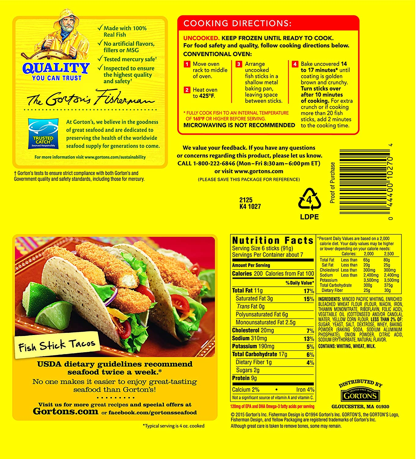 Gorton 39 s fish sticks nutrition facts for Gortons fish sticks
