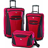 American Tourister Fieldbrook II Softside Upright Luggage Set, Red/Black, 3-Piece (tote/21/25)