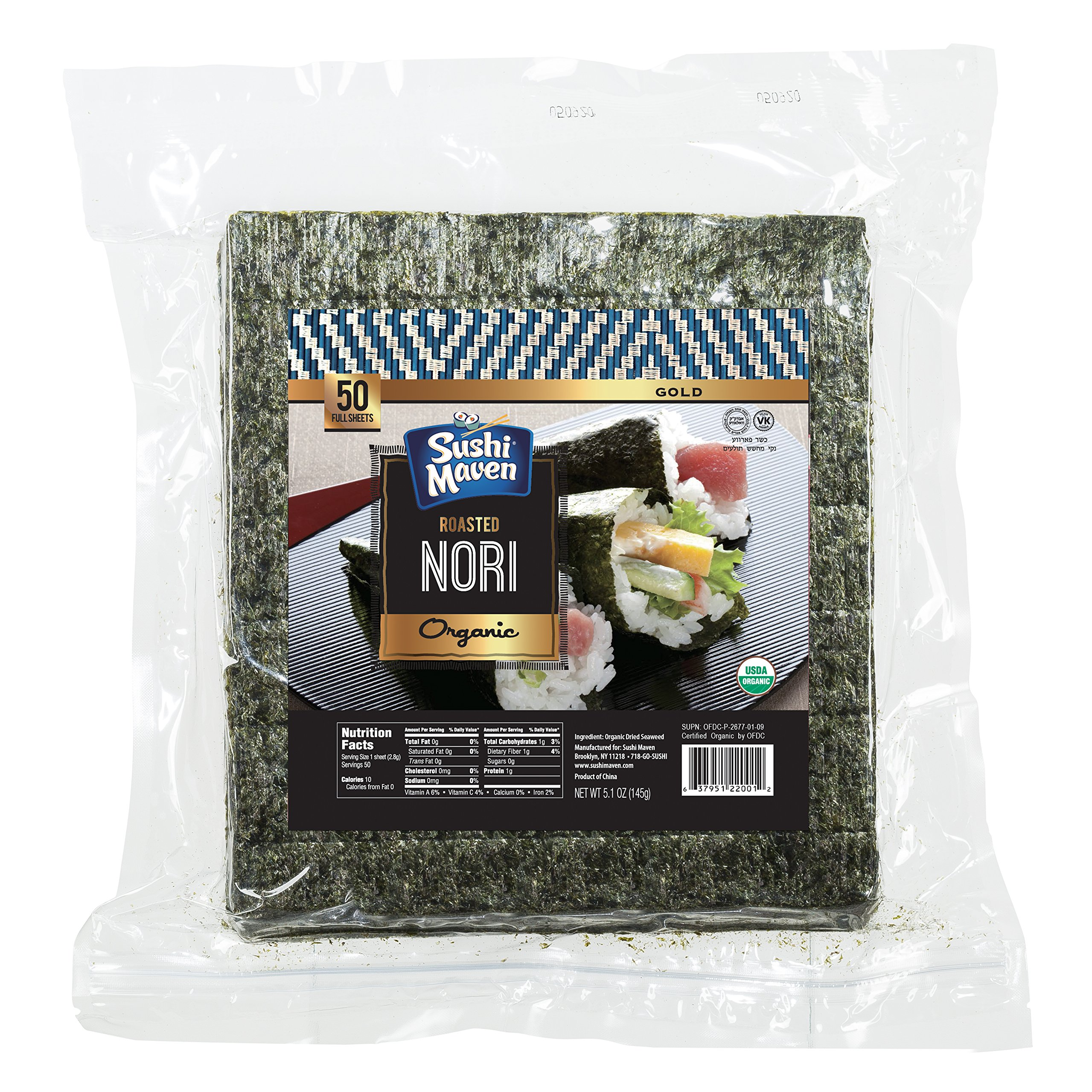 SUSHI MAVEN Nori Sheets- Pack of 50 Seaweed Sheets- Organic Nori Sheets for Asian Dishes- Premium High-end Nori Sheets for Sushi and Rice Balls- Healthy Organic Asian Food by Sushi Maven