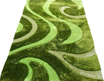 Amazon Com Kjgrug Shag Shaggy Modern Swirl Design Lime Green 5x7 Area Rug Furniture Decor