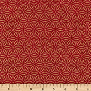 Timeless Treasures Metallic Holiday Blenders Geo Red Quilt Fabric By The Yard