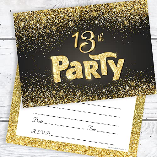 Black And Gold Effect 13th Birthday Party Invitations