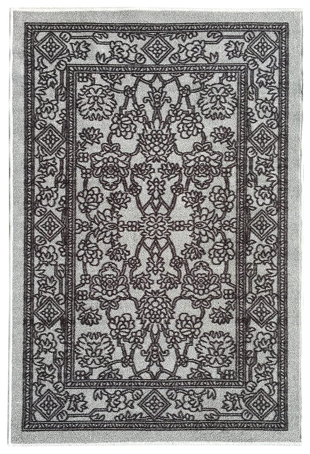 Kapaqua Rubber Back Non-Slip 2'8 x 10' Fancy Egyptian Print Traditional Grey Long Runner Rug - Rana Collection Kitchen Hallway Entry Pet High Traffic Rug RAN2054-310 2054-3X10