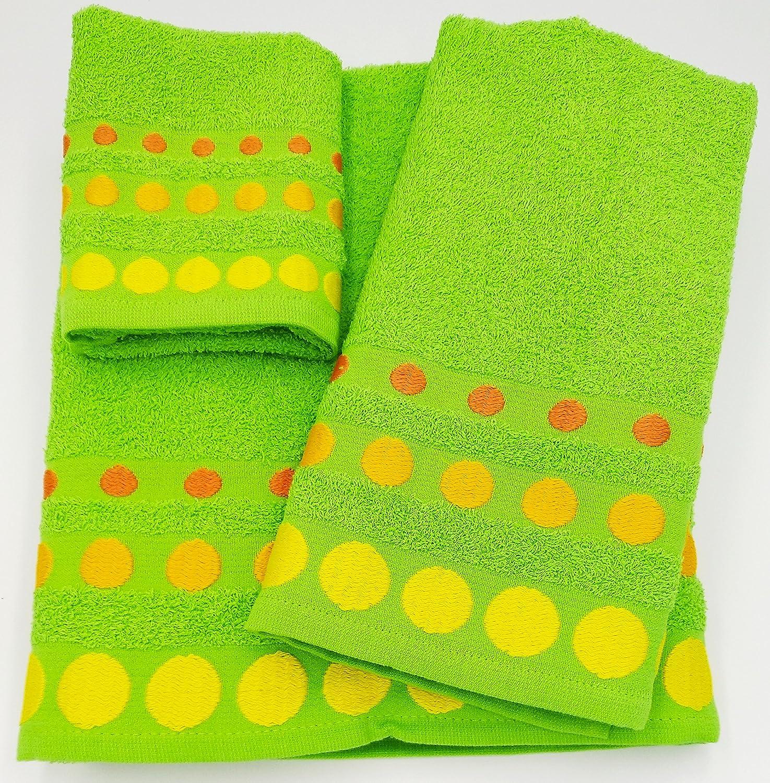 Confort Home M.T (Pistacho Bolas) Juego de Toallas de baño 3 Piezas (1 Toalla de baño, 1 Toallas de Manos y 1 Toalla Cara) 100% algodón, Calidad 500g,, ...