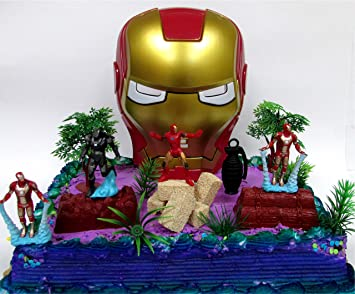 Amazoncom 14 Piece AVENGERS IRON MAN Themed Birthday Cake Topper