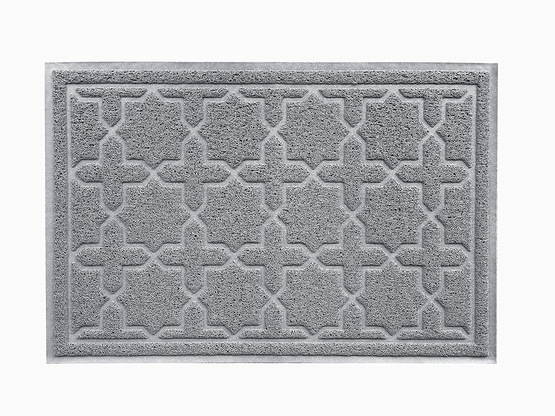 "XL 35"" x 23"" Door Floor Mat Indoor Outdoor Entrance Kitchen Bath Shower Garage Patio Non-Skid/Slip 100% Rubber Antibacterial Waterproof Flexible PVC - Use Anywhere Inside Outside (Star Cross, Grey)"