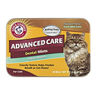 Arm & Hammer Advanced Care Dental Mints For Cats   Fresh Cat Breath Without Brushing   Chicken Flavor, 40 Count