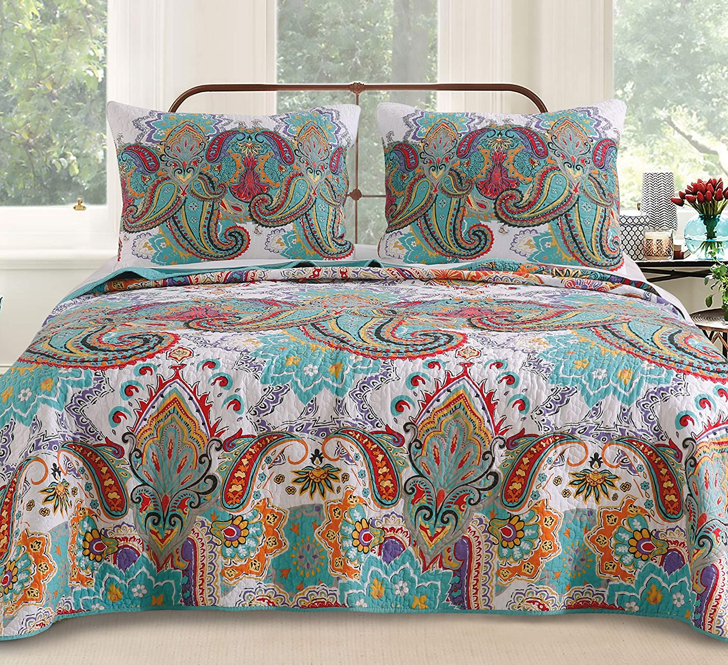 Greenland Home Nirvana Teal Quilt Set, King/California King