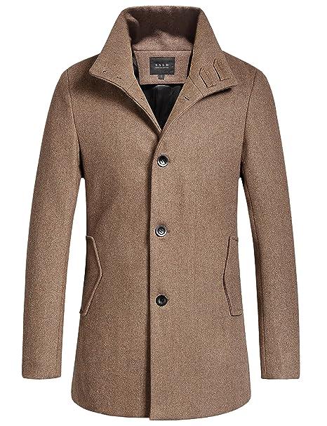SSLR - Abrigo de lana de hombre, ajustado, británico - Marrón - Medium: Amazon.es: Ropa y accesorios