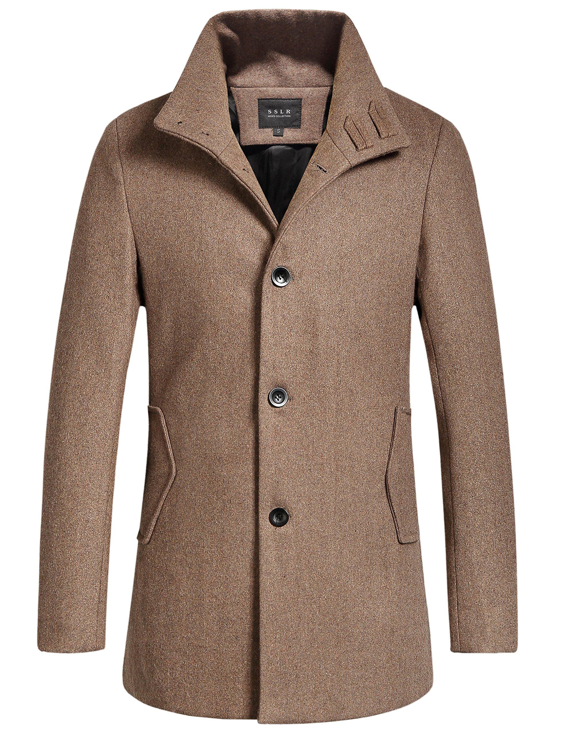 SSLR Men's British Single Breasted Slim Wool Coat (Medium, Coffee)
