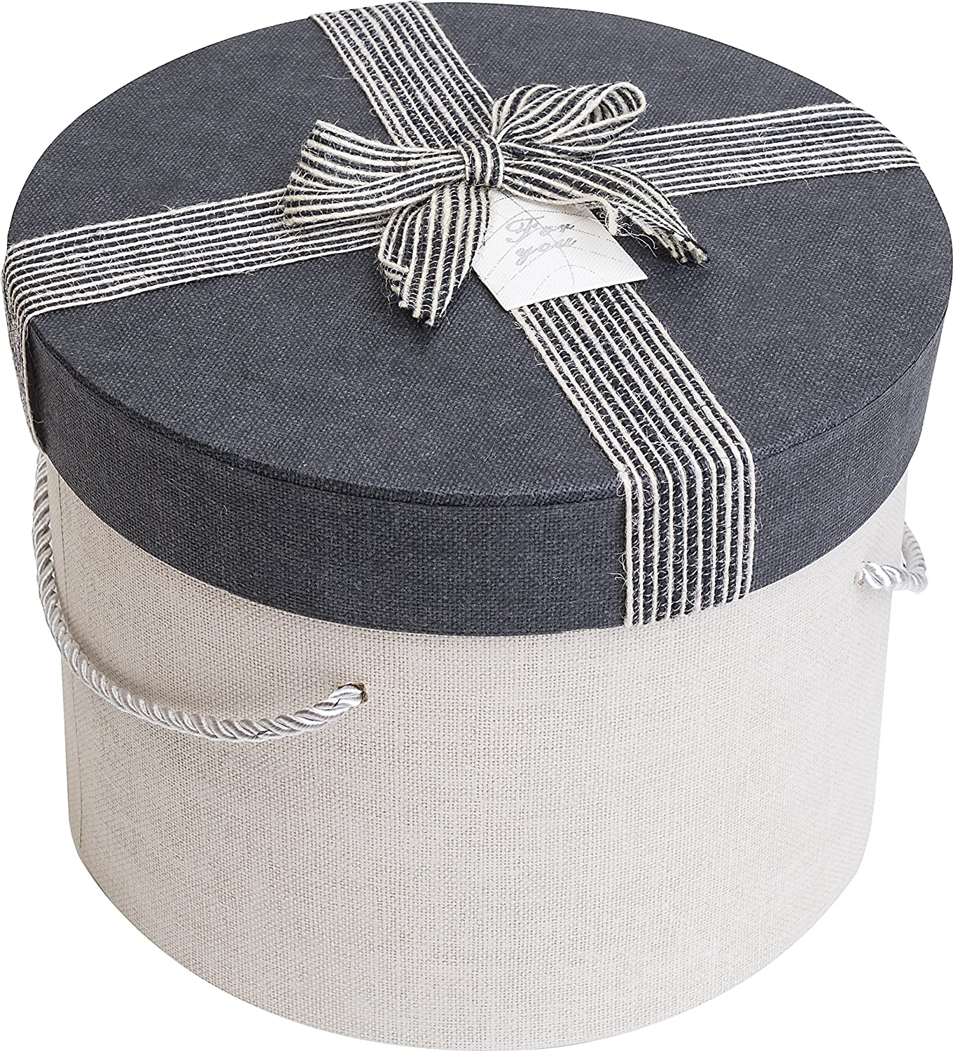 Emartbuy Set of 3 Rigid Luxury Cylindrical Presentation Gift Box Chocolate Brown Interior and Pink Jute Decorative Bow Ribbon Pink Box with Beige Lid