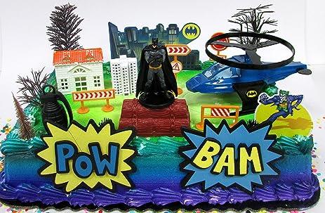 Amazoncom Super Hero Batman Birthday Cake Topper Set Featuring