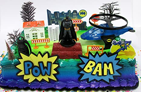 Super Hero Batman Birthday Cake Topper Set Featuring Figure And Decorative Themed Accessories