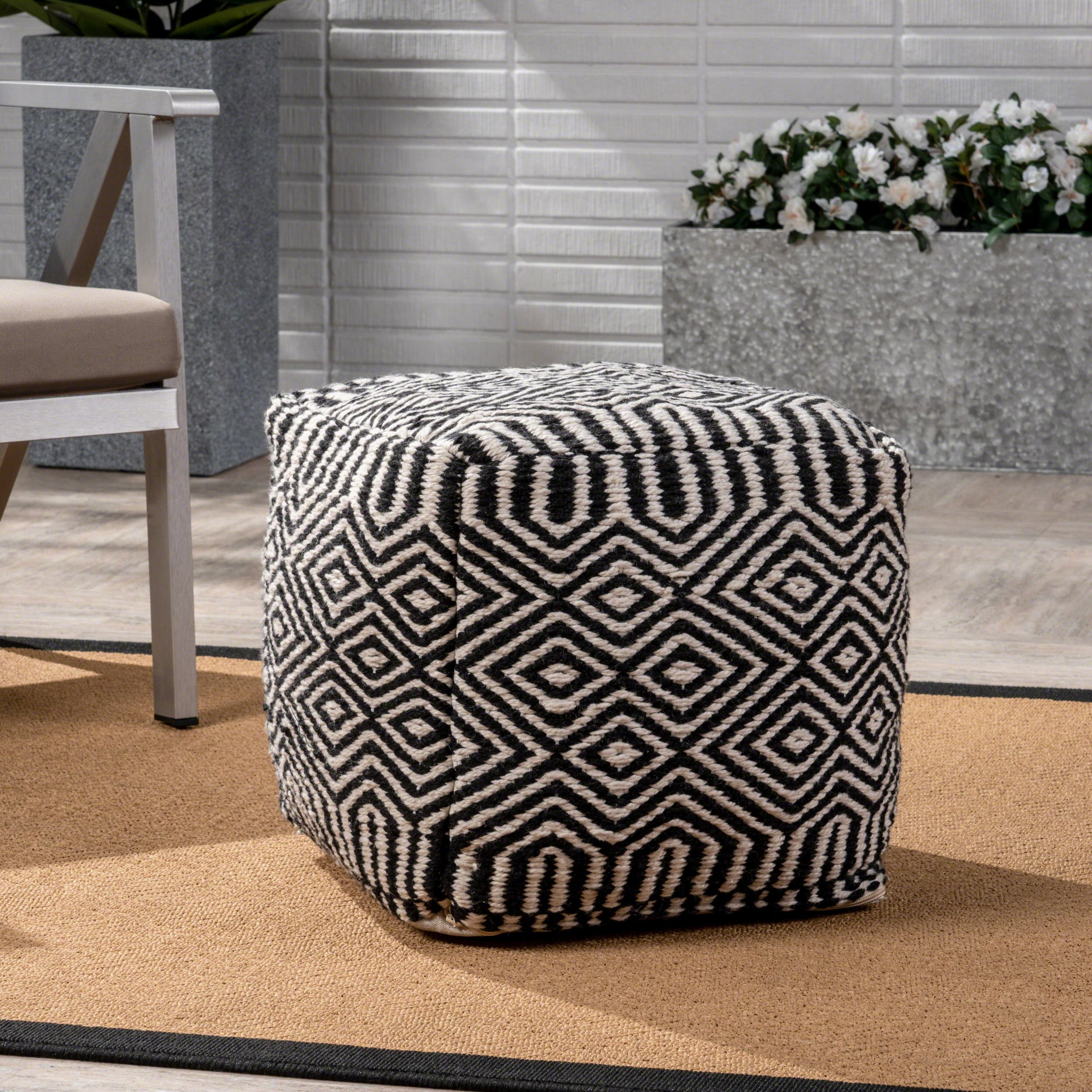 Great Deal Furniture Adams Outdoor Modern Boho Pouf, Black with White