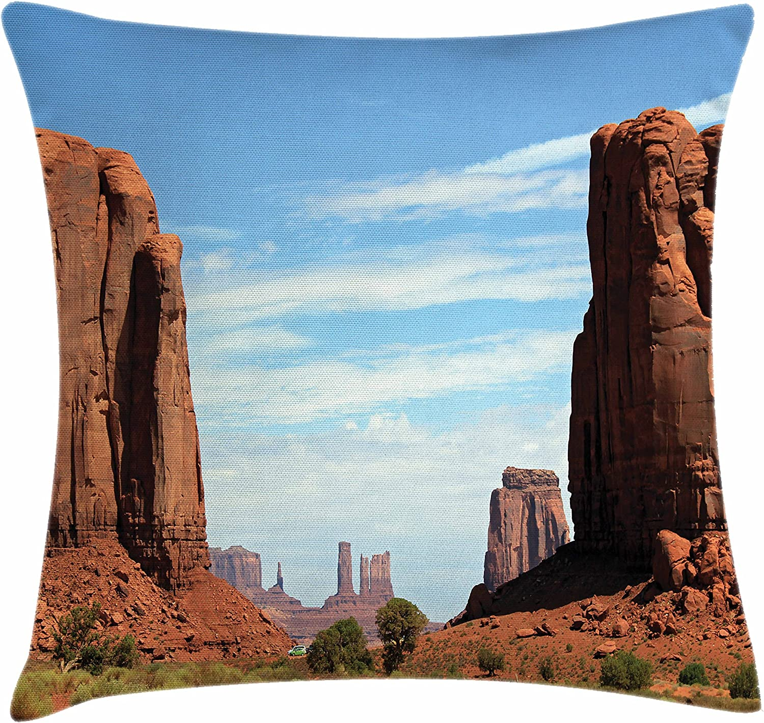 Lunarable American Throw Pillow Cushion Cover United States Utah Colorado Plato The Mitten Butte Monument Valley Rocks Canyon Scenery Decorative Square Accent Pillow Case 26 X 26 Inches Brown Home