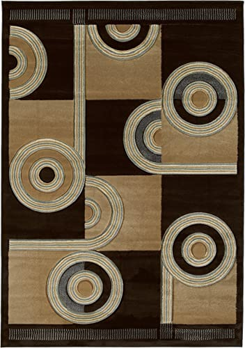 United Weavers of America Contours Collection Spiral Canvas Heavyweight Heatset Olefin Rug, 7-Feet 10-Inch by 10-Feet 6-Inch, Chocolate
