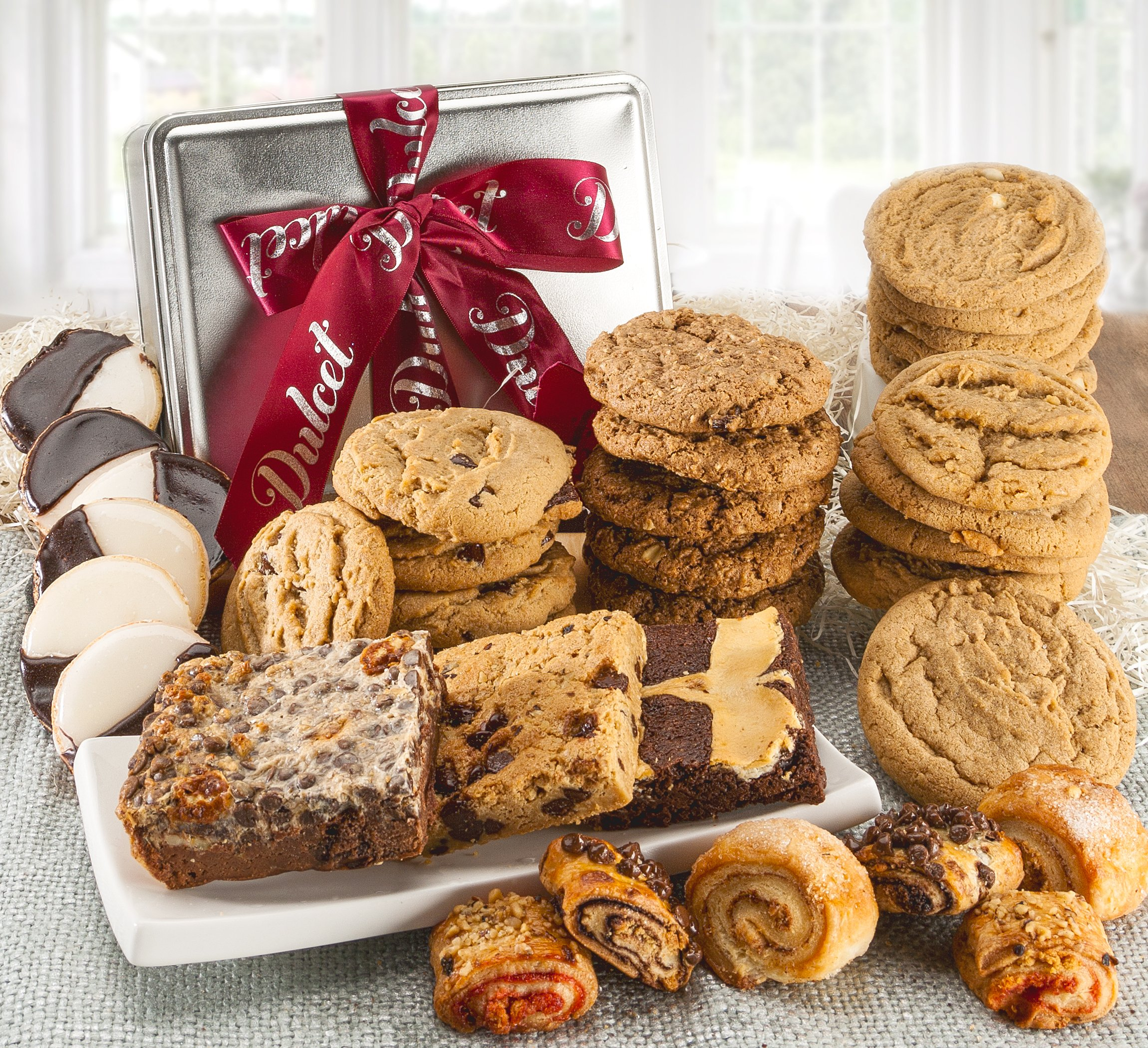 Dulcet Assorted Tin Gift Basket, Best Sellers Includes: Assorted cookies, Cranberry White Chip, Peanut Butter, Oatmeal Raisin, Chocolate Chunk, Black and White, Assorted brownie, Assorted Rugelach