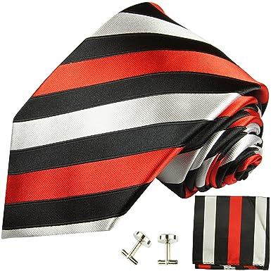 Juego de 3 tlg 100% corbatas corbata de seda negra roja + gemelos ...