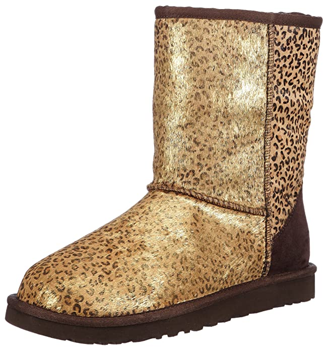Amazon.com | UGG Women's Classic Short Metallic Leopard Calf Hair Leopard Metallic Calf Hair Boot 9 B - Medium | Boots