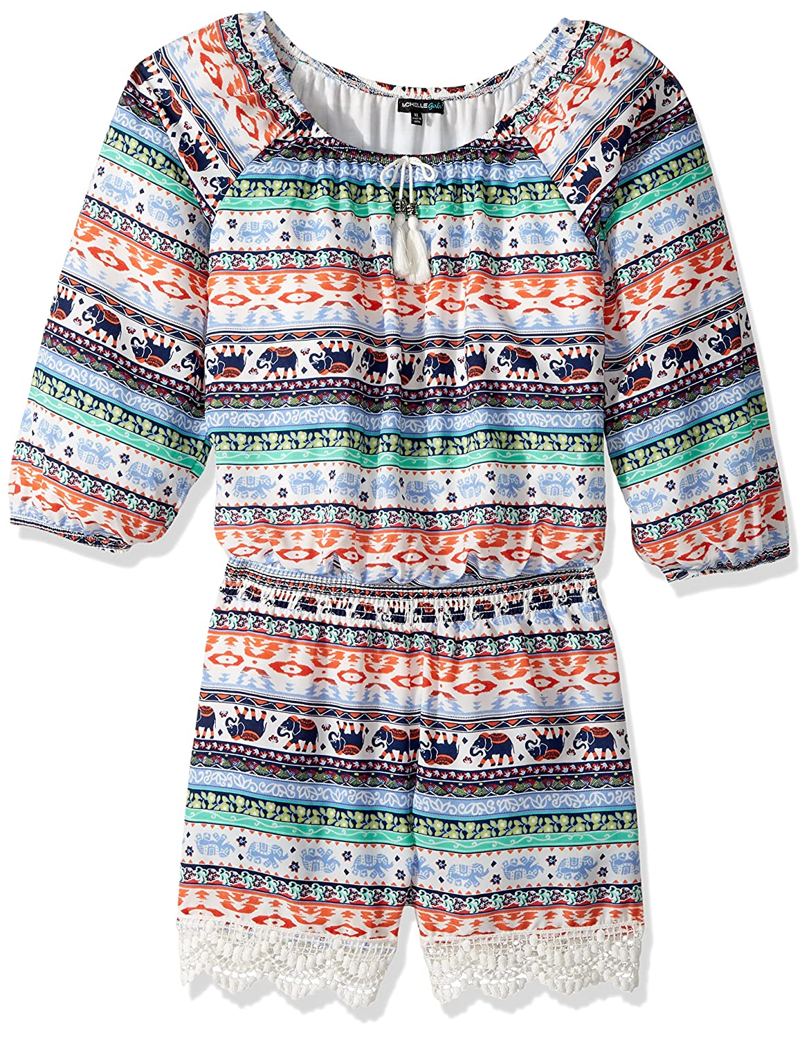 My Michelle Girls' Big Printed Long Sleeve Romper with Crochet Trim 4764AA1G