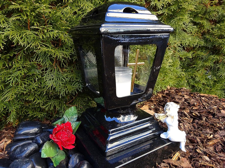 & # X2665Memorial Light Black Ceramic Glass Cross with Memorial Candle & # X2665Memorial Grave Candle Lantern Grave Memorial Light Heart Mesh Angel Graveyard Plant Heart Flower Pot Grave Heart herzgitter.de ♥