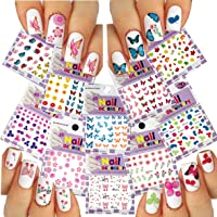 Nail Art 3D Stickers Mixed Butterflies & Flower Collection, Pack of 10 /EE-IV/