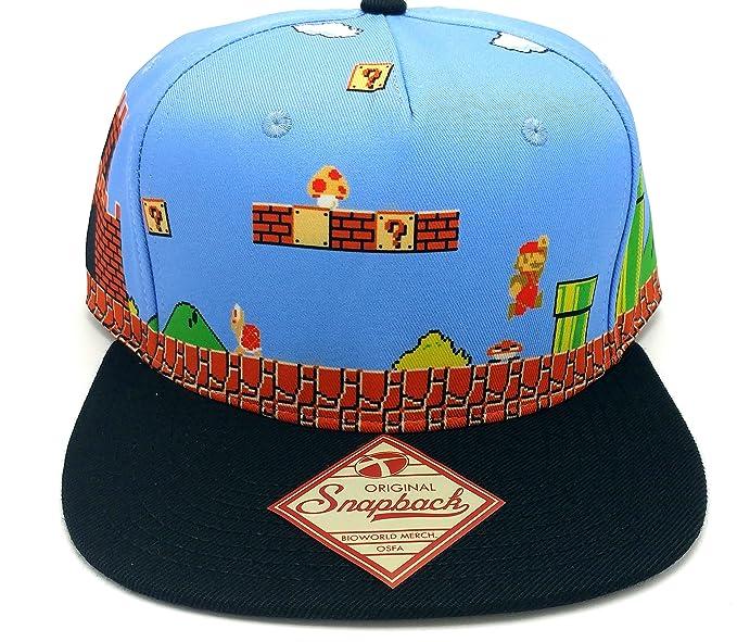 buy popular 9c2f5 f419e Image Unavailable. Image not available for. Colour  bioworld Nintendo  Original Super Mario Brothers NES Retro 8-Bit Scene Snapback
