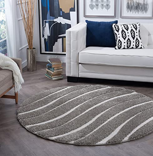 Tayse Waveland Gray 7 Foot Round Area Rug for Living, Bedroom, or Dining Room – Shag, Stripe