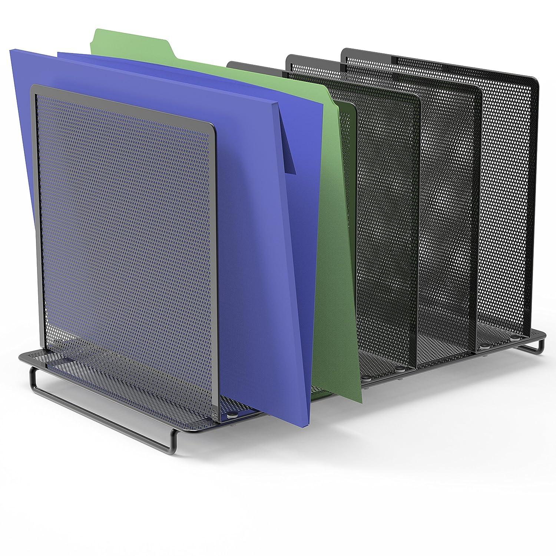 SimpleHouseware Expandable 5 Section Upright File Sorter Organizer, Black EP Family Corp.