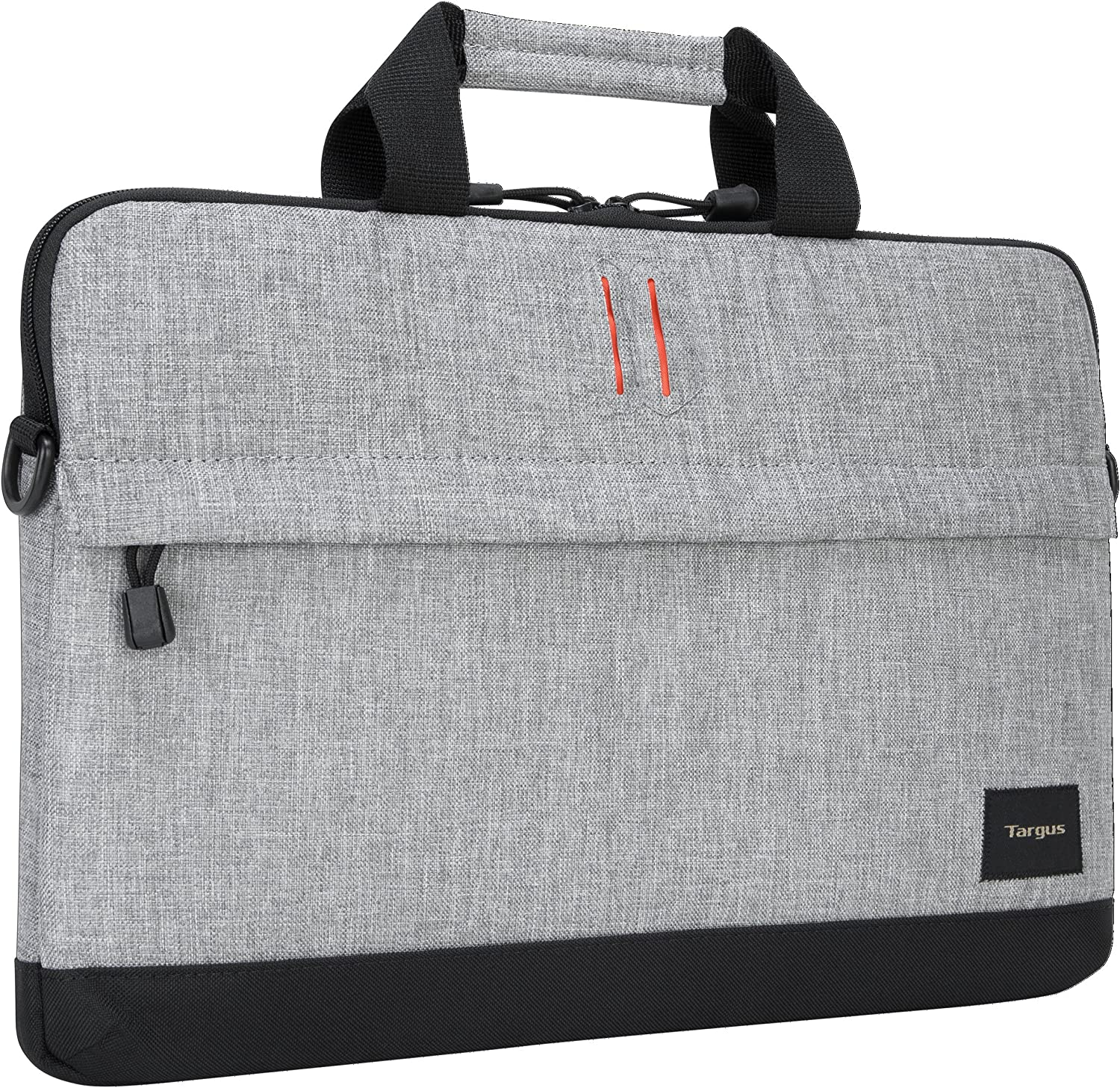 Targus Strata Slipcase Laptop Case with Lightweight Durable Padding, Front Zip Pocket Pouch, Shoulder Strap, Protective Sleeve fits 15.6-Inch Laptop, Gray/Pewter (TSS63204US)