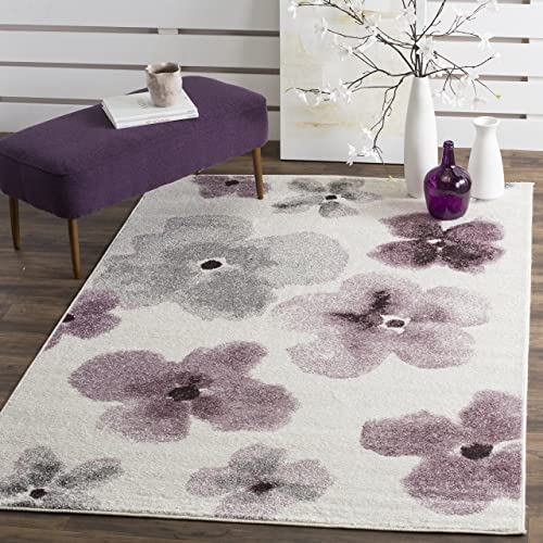 Safavieh Adirondack Collection ADR123L Ivory and Purple Vintage Floral Watercolor Area Rug 8 x 10