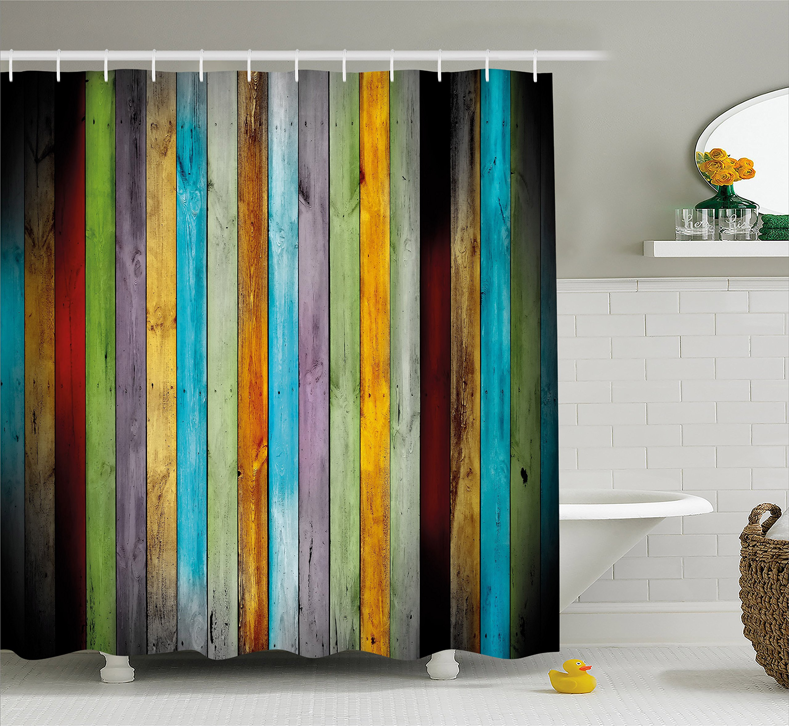 Lunarable Colorful Shower Curtain by, Vertical Wood Planks in Different Colors Carpentry Oak Timber Rustic Country Life, Fabric Bathroom Decor Set with Hooks, 84 Inches Extra Long, Multicolor