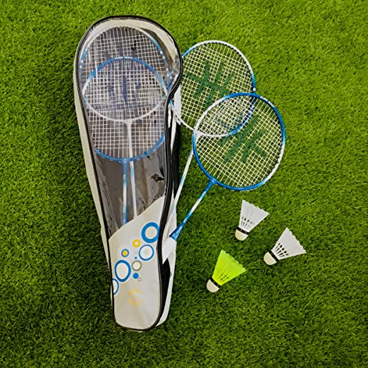 Sure Shot Quick Fit 3m Junior pop up net with Junior Rackets and shuttlecocks
