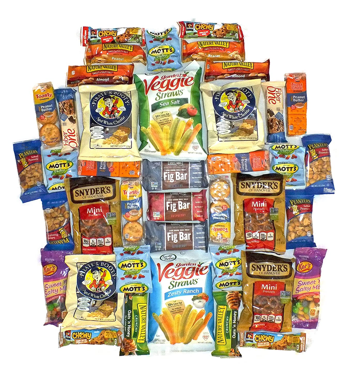 Healthy Snack Pack Variety Assortment Care Package Natural Bulk Sampler Bars Snacks (40 Count)