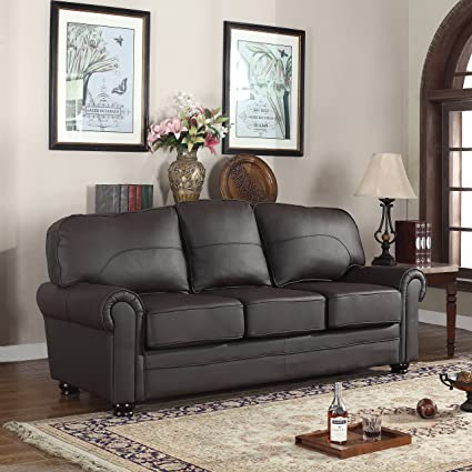 Amazon.com: Real Leather Upholstered Sofa: Kitchen & Dining