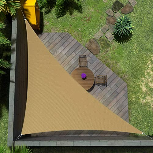 Amgo Custom Size Right Triangle 9' x 15' x 17.5' Sand Beige Triangle Sun Shade Sail ATAPRT12 Canopy Awning