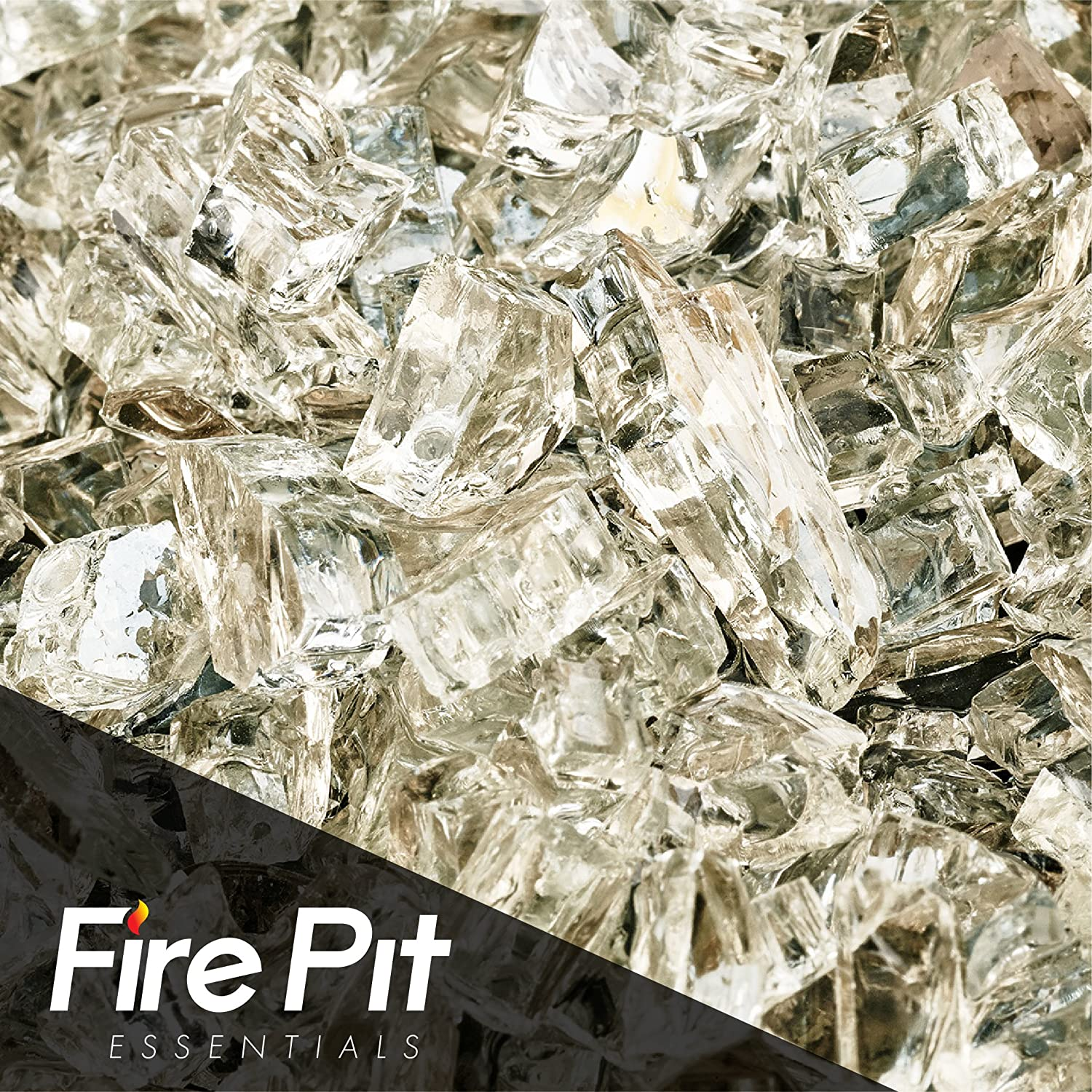 Fireglass 10-pound Reflective Fire Glass with Fireplace Glass and Fire Pit Glass, 1/4-inch, Platinum Fire Pit Essentials