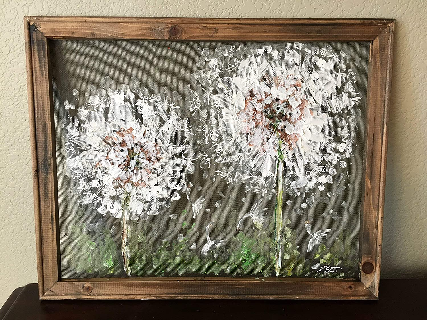 outdoor art,hand painting on screen Dandelion hand painted on screen,Rustic Dandelion