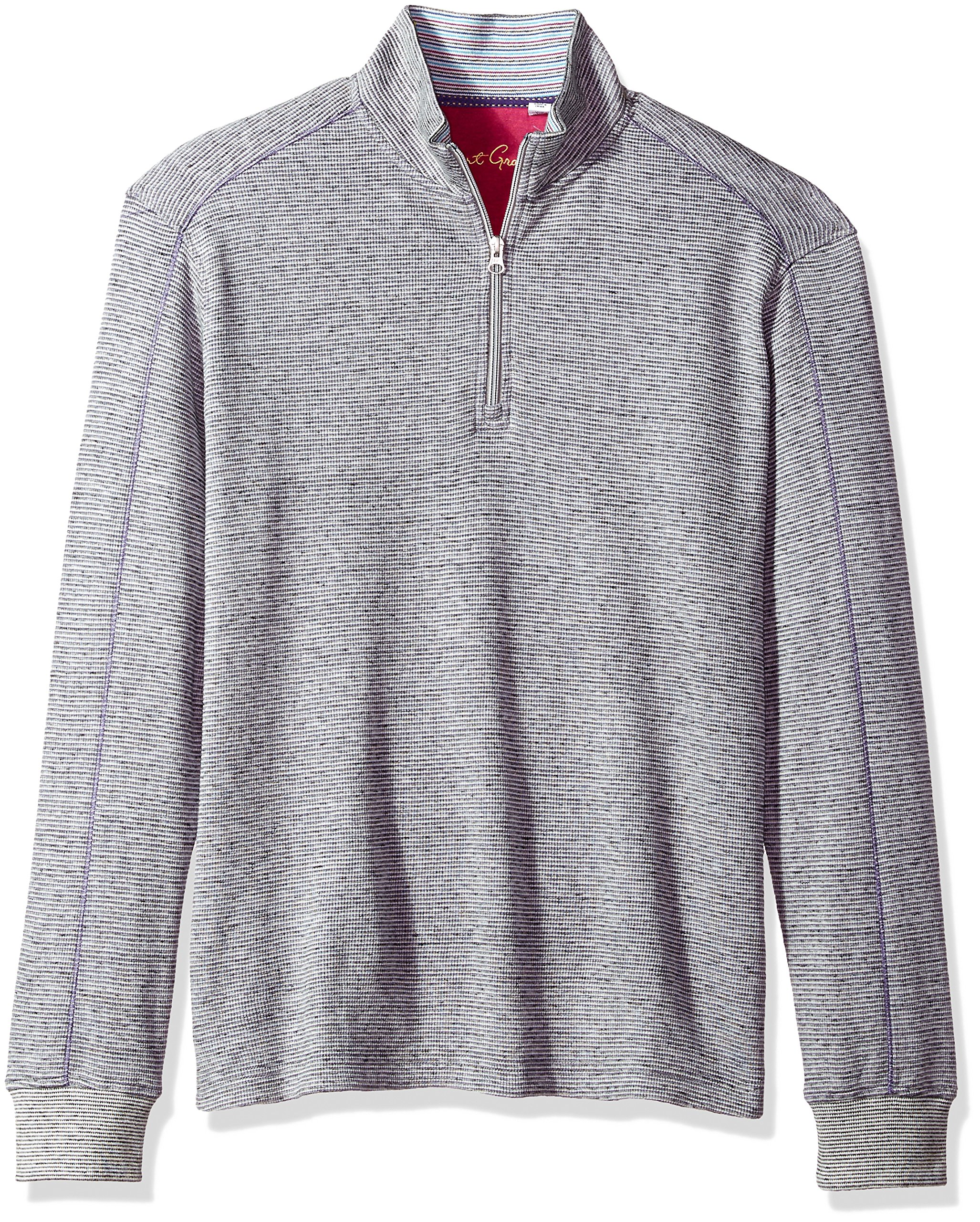 Robert Graham Men's Easy Rider Cotton 1/4 Zip Knit, Heather Charcoal, 2XLARGE