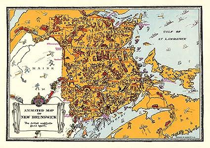 Amazon.com: Plaindealing Vintage Animated New Brunswick ... on ontario canada map, ottawa canada map, princeton canada map, chicago canada map, nunavut canada map, manitoba canada map, yellowknife canada map, oregon canada map, quebec canada map, new york state canada map, queen's university canada map, alberta canada map, maine map, amherst canada map, prince edward island canada map, saskatchewan canada map, new hampshire canada map, newfoundland canada map, yukon territory canada map, nova scotia map,