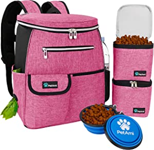 PetAmi Dog Travel Bag Backpack | Backpack Organizer with Poop Bag Dispenser, Multi-Function Pocket, Food Container Bag, Collapsible Bowl | Weekend Pet Travel Set for Hiking Overnight Camping Road Trip