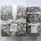 Pottery Barn JACQUARD MEDALLION Duvet Cover King/California King & Two Euro Shams ~Gray~