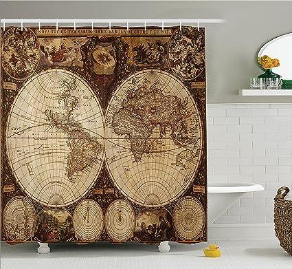 Amazon wanderlust decor shower curtain by ambesonne image of wanderlust decor shower curtain by ambesonne image of old world map made in 1720s nostalgic gumiabroncs Gallery
