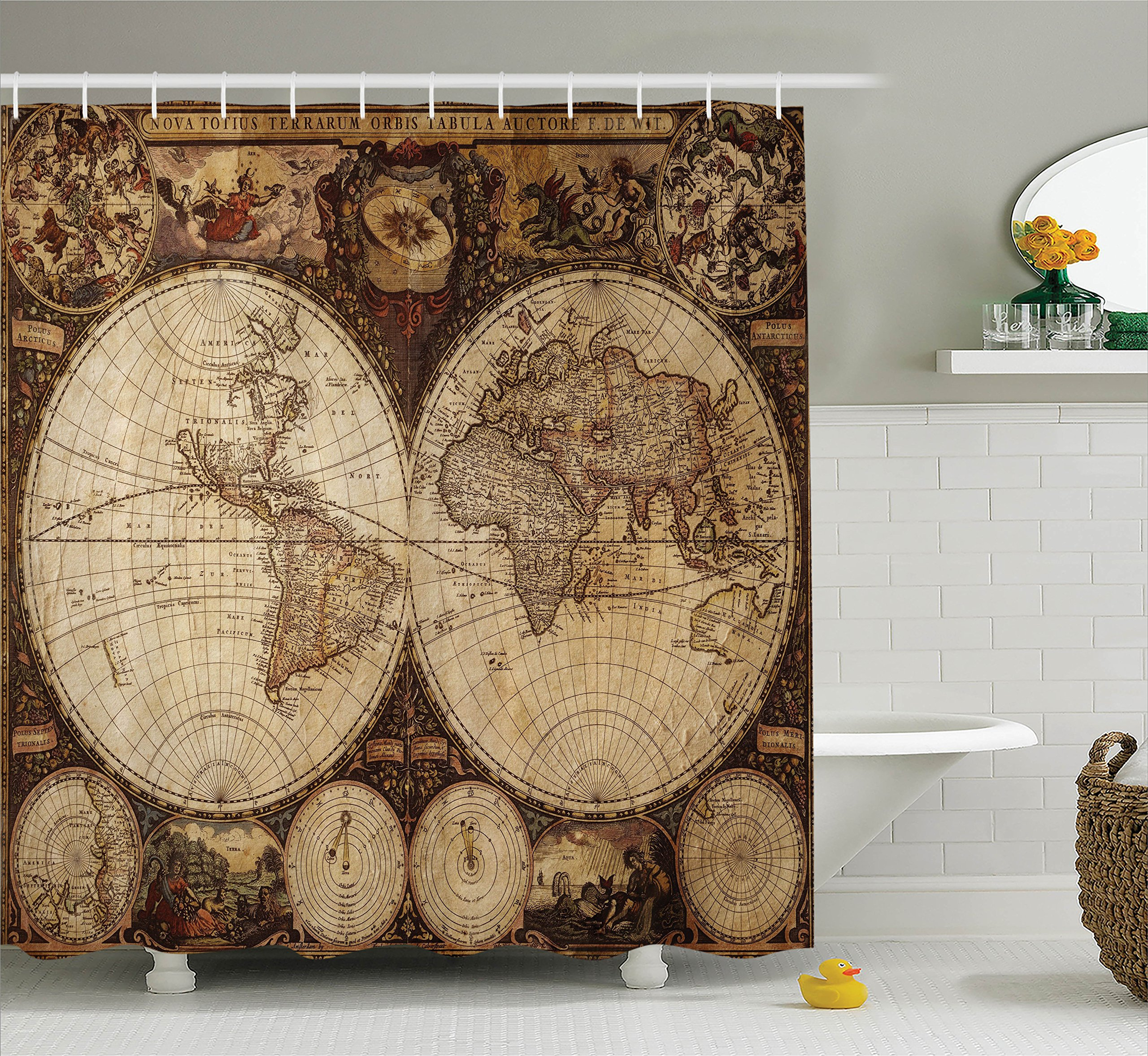 Old world map accessories amazon wanderlust decor shower curtain by ambesonne image of old world map made in 1720s nostalgic gumiabroncs Gallery
