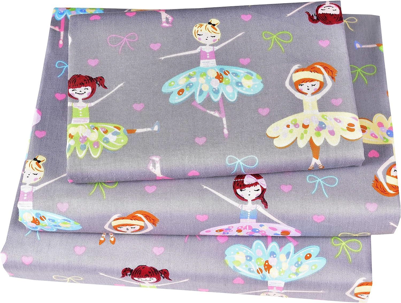 J-pinno Ballet Dancer Cute Twin Sheet Set for Kids Girl Toddler,100% Cotton, Flat Sheet + Fitted Sheet + Pillowcase Bedding Set