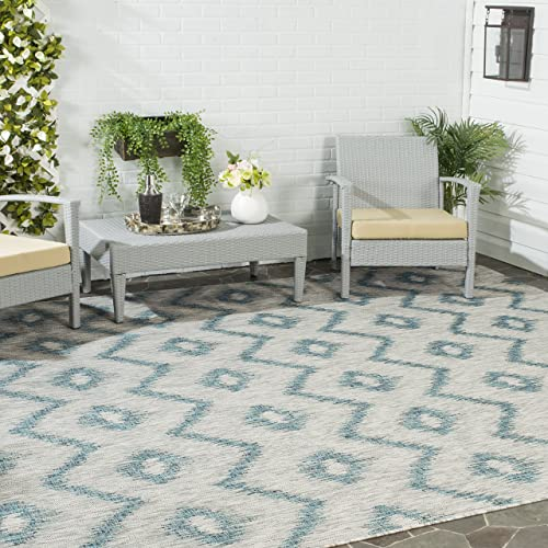 Safavieh Courtyard Collection CY8463-37212 Grey and Blue Indoor Outdoor Area Rug 8 x 11